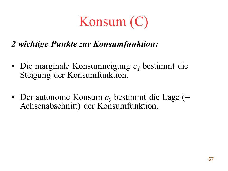 Konsum (C) 2 wichtige Punkte zur Konsumfunktion: