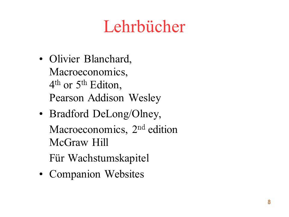 Lehrbücher Olivier Blanchard, Macroeconomics, 4th or 5th Editon, Pearson Addison Wesley. Bradford DeLong/Olney,