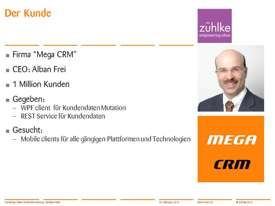 MEGA CRM Der Kunde Firma Mega CRM CEO: Alban Frei 1 Million Kunden