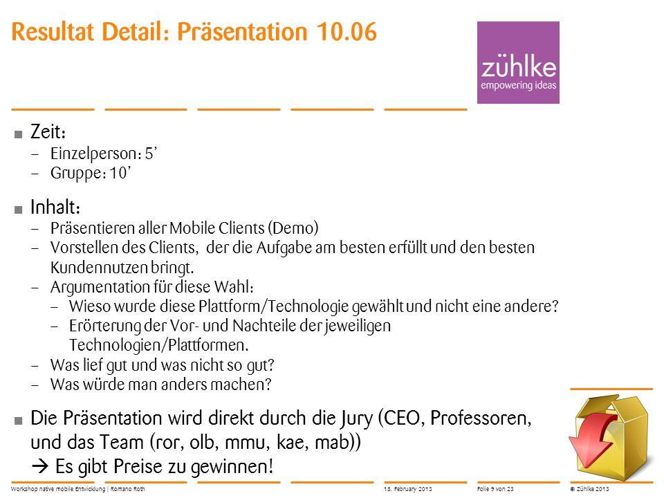Resultat Detail: Präsentation 10.06
