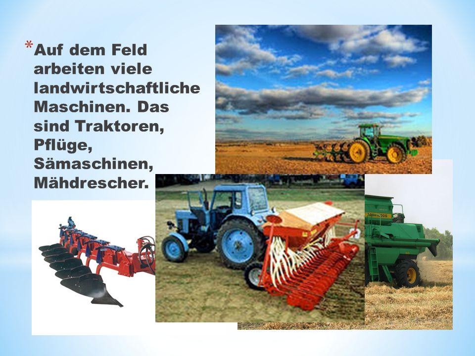 Auf dem Feld arbeiten viele landwirtschaftliche Maschinen