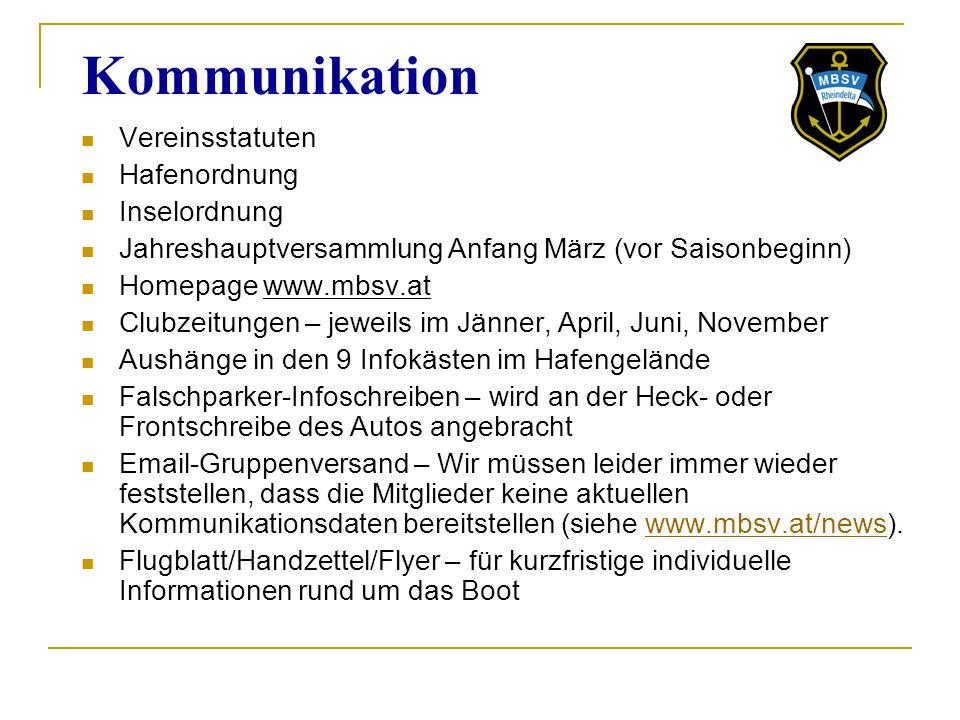 Kommunikation Vereinsstatuten Hafenordnung Inselordnung
