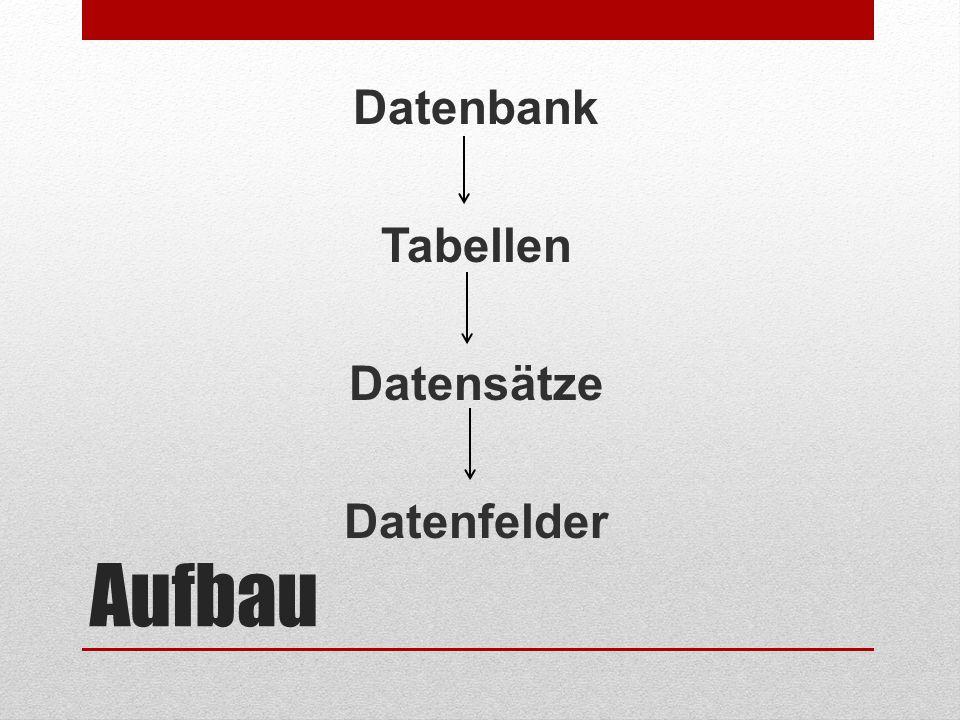 Datenbank Tabellen Datensätze Datenfelder