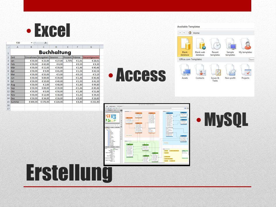 Excel Access MySQL Erstellung