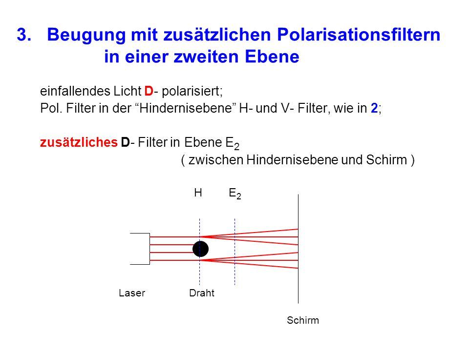 3. Beugung mit zusätzlichen Polarisationsfiltern in einer zweiten Ebene