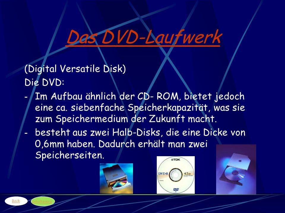 Das DVD-Laufwerk (Digital Versatile Disk) Die DVD: