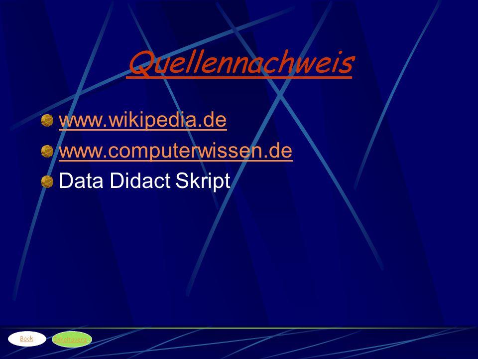 Quellennachweis www.wikipedia.de www.computerwissen.de