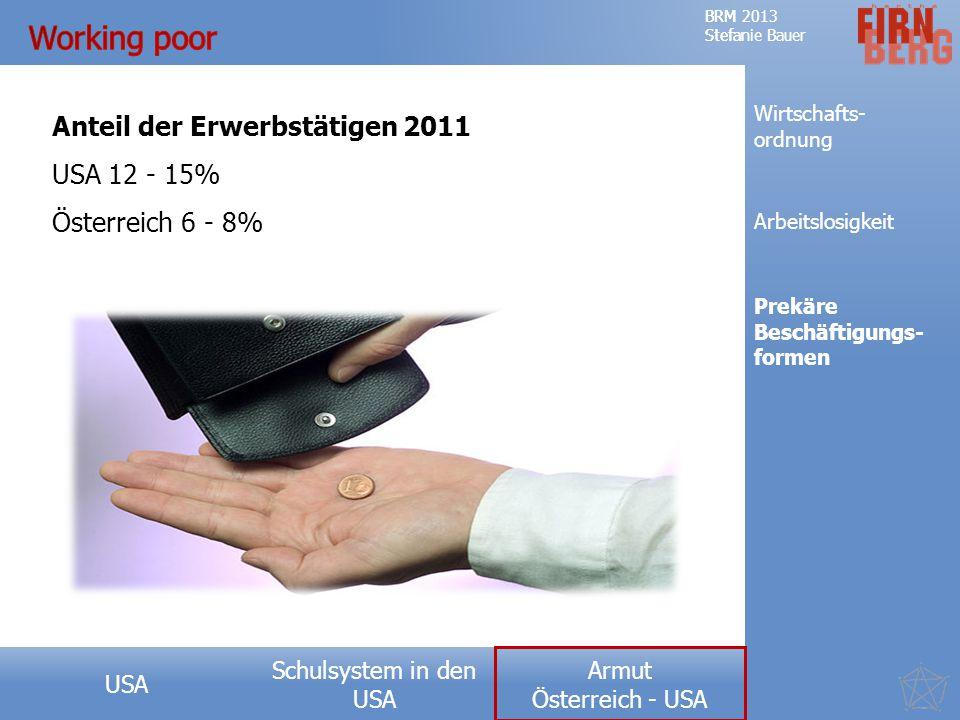 Working poor Anteil der Erwerbstätigen 2011 USA 12 - 15%