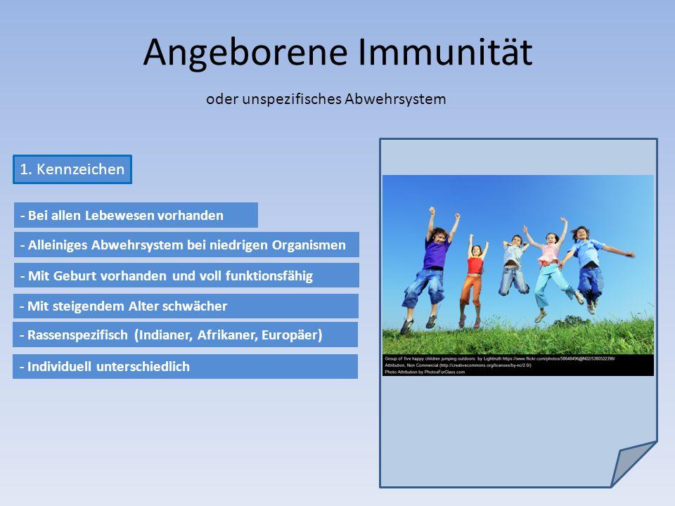 Angeborene Immunität oder unspezifisches Abwehrsystem 1. Kennzeichen