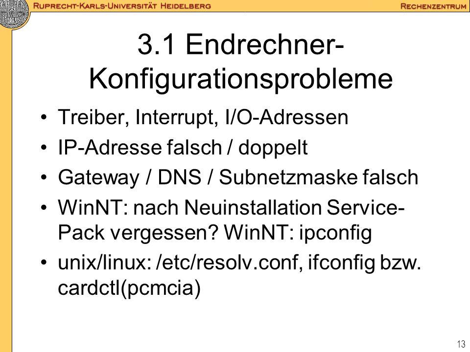 3.1 Endrechner-Konfigurationsprobleme