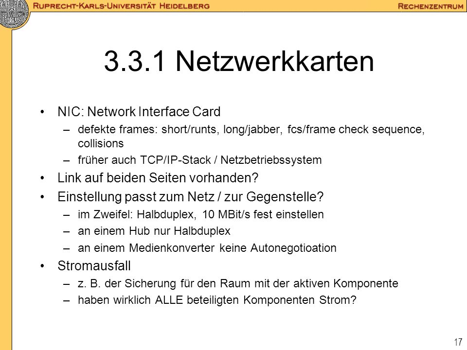 3.3.1 Netzwerkkarten NIC: Network Interface Card