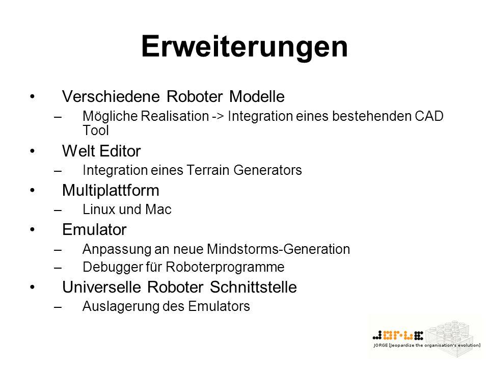 Erweiterungen Verschiedene Roboter Modelle Welt Editor Multiplattform