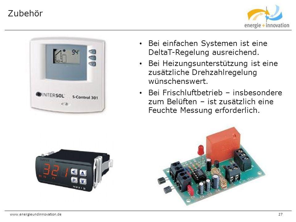 Zubehör Bei einfachen Systemen ist eine DeltaT-Regelung ausreichend.