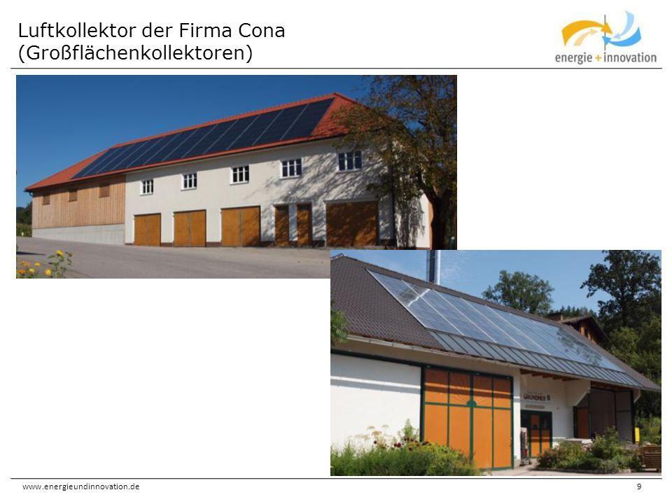 Luftkollektor der Firma Cona (Großflächenkollektoren)