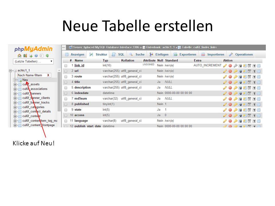 Neue Tabelle erstellen