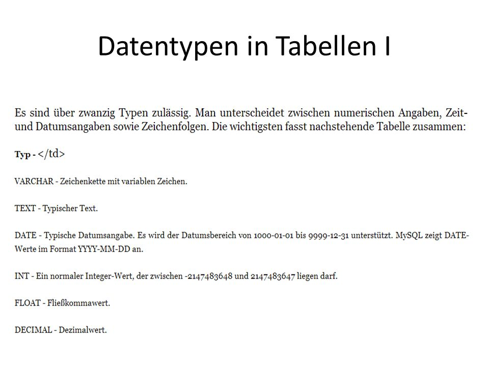 Datentypen in Tabellen I