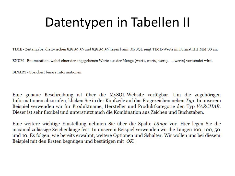 Datentypen in Tabellen II