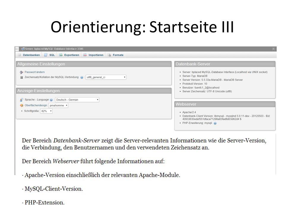 Orientierung: Startseite III