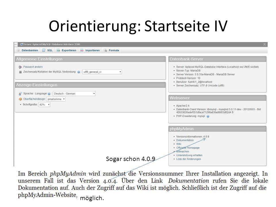Orientierung: Startseite IV