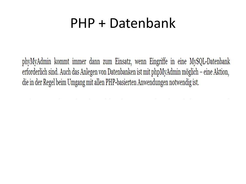 PHP + Datenbank