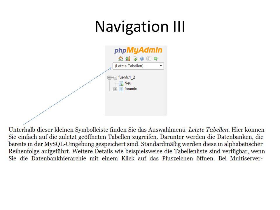Navigation III