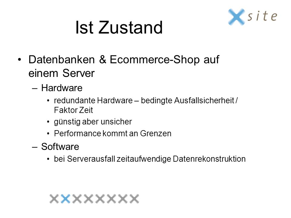Ist Zustand Datenbanken & Ecommerce-Shop auf einem Server Hardware