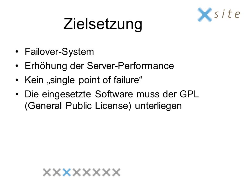 Zielsetzung Failover-System Erhöhung der Server-Performance