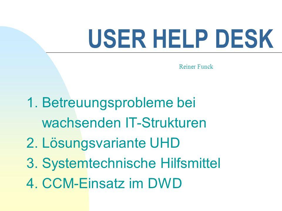 USER HELP DESK 1. Betreuungsprobleme bei wachsenden IT-Strukturen