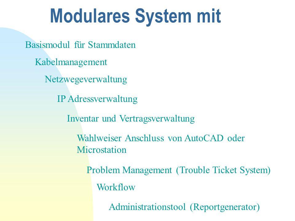 Modulares System mit Basismodul für Stammdaten Kabelmanagement