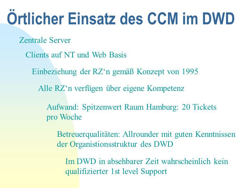 Örtlicher Einsatz des CCM im DWD