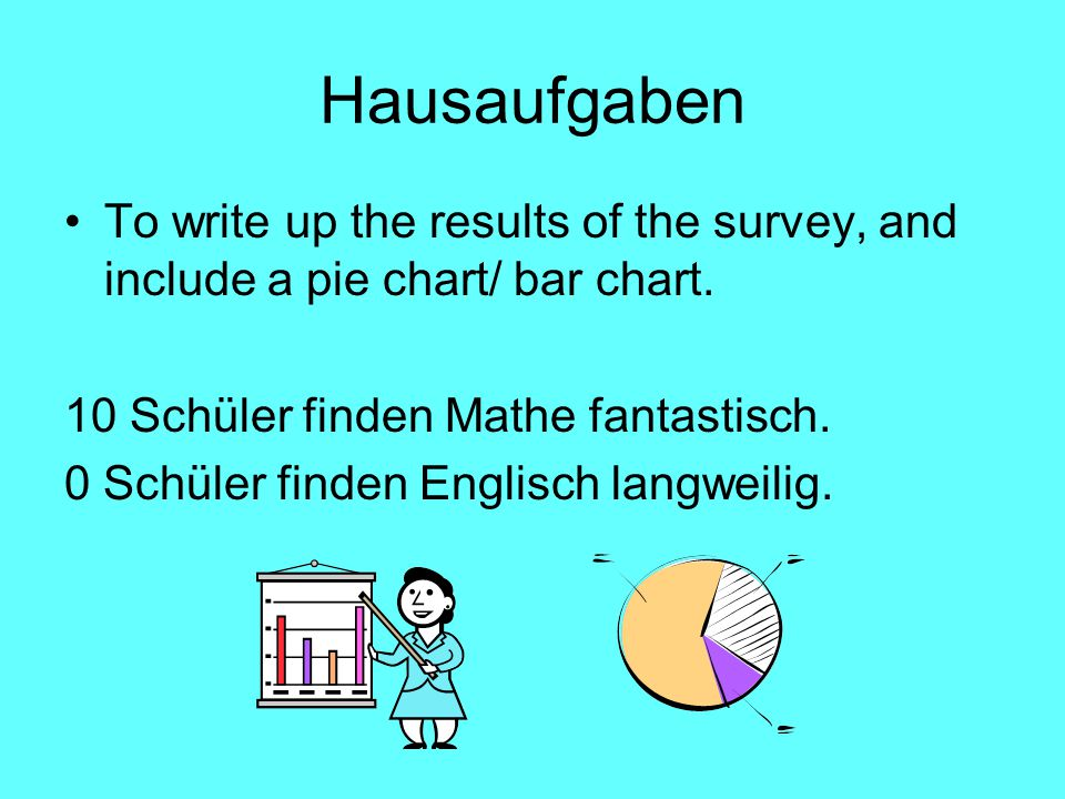 Hausaufgaben To write up the results of the survey, and include a pie chart/ bar chart. 10 Schüler finden Mathe fantastisch.