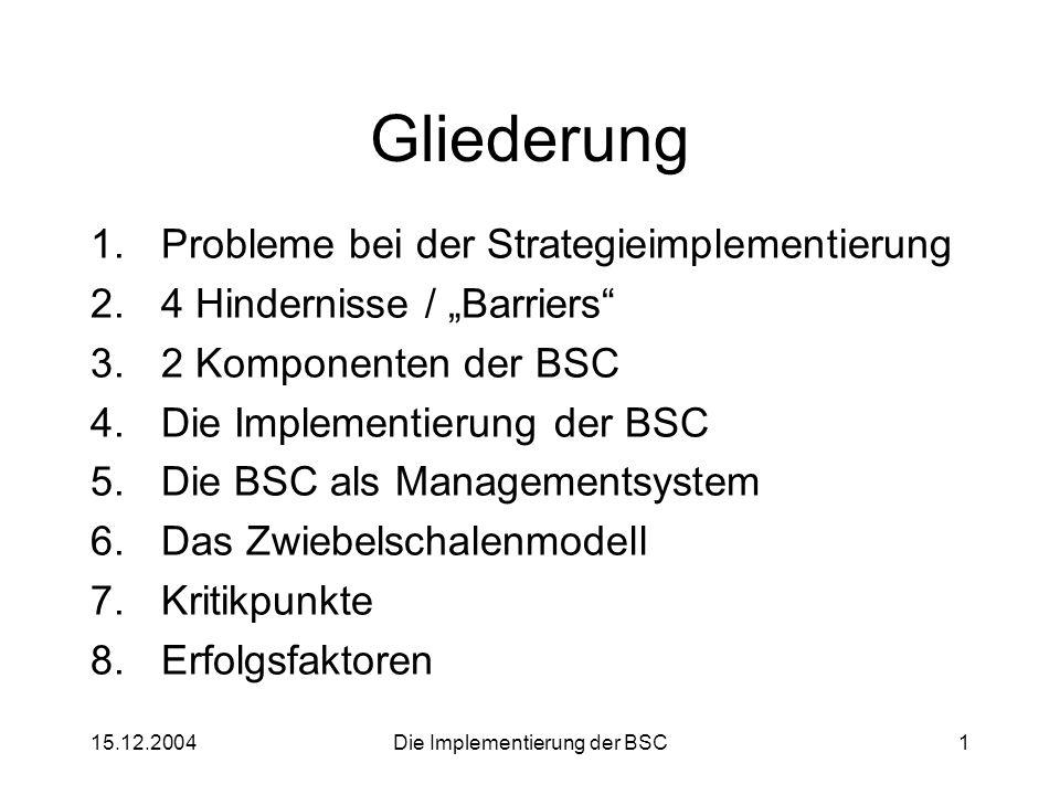 Probleme bei der Strategieimplementierung