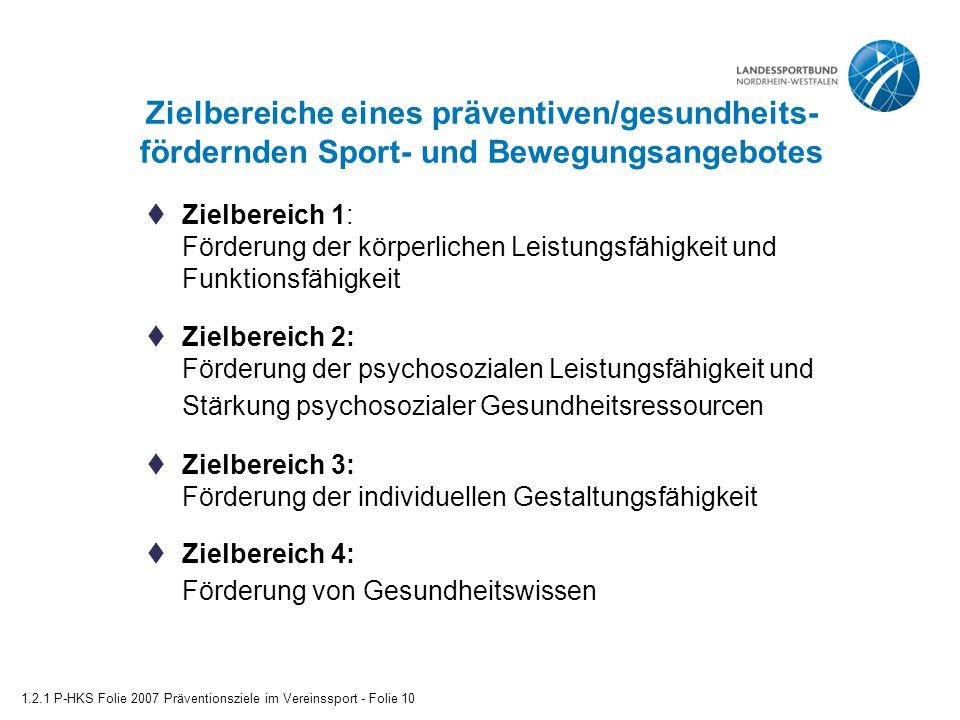 Zielbereiche eines präventiven/gesundheits-fördernden Sport- und Bewegungsangebotes
