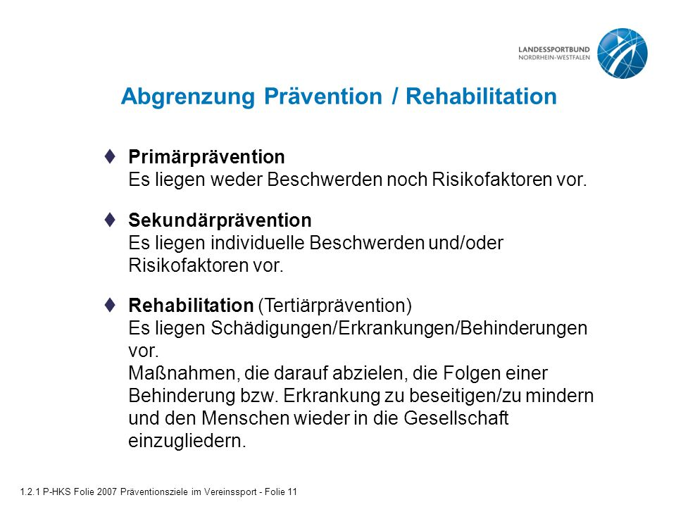 Abgrenzung Prävention / Rehabilitation