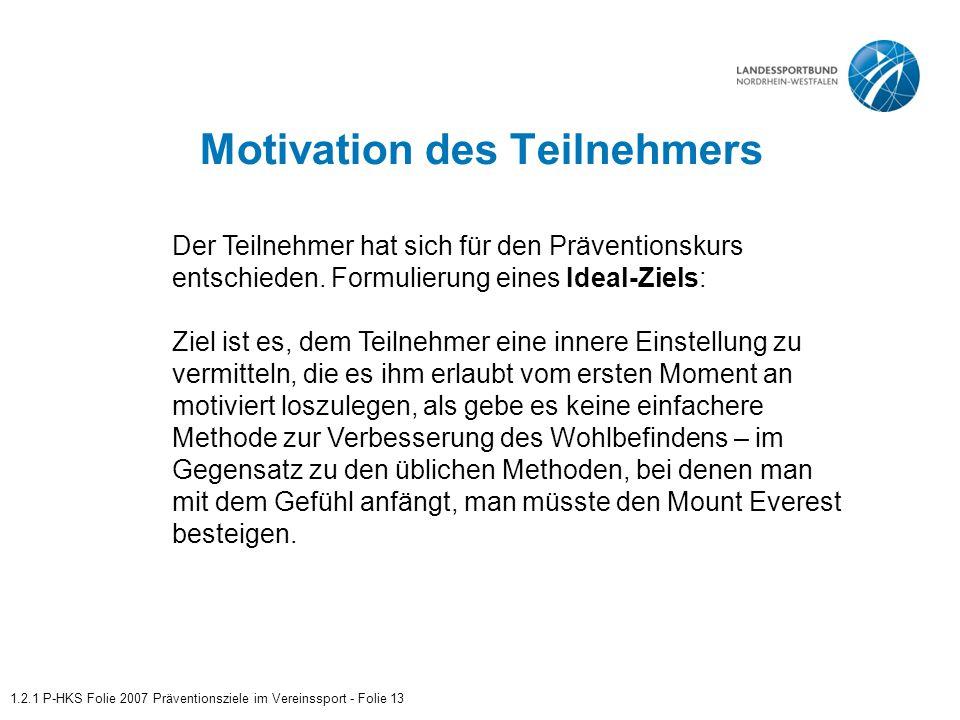 Motivation des Teilnehmers