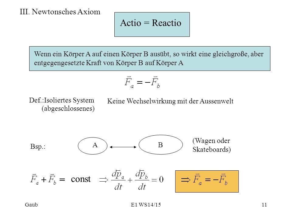 Actio = Reactio const III. Newtonsches Axiom