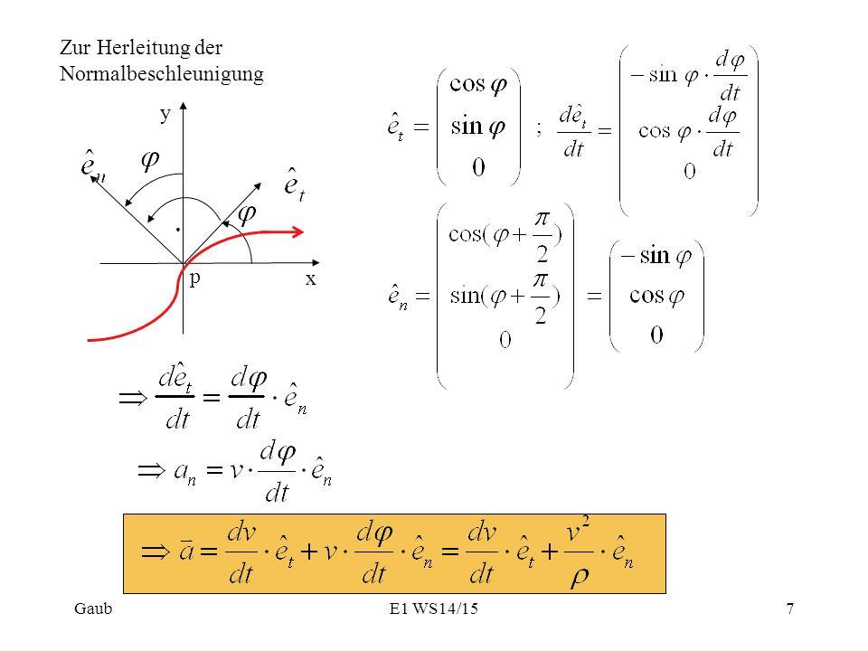 Zur Herleitung der Normalbeschleunigung