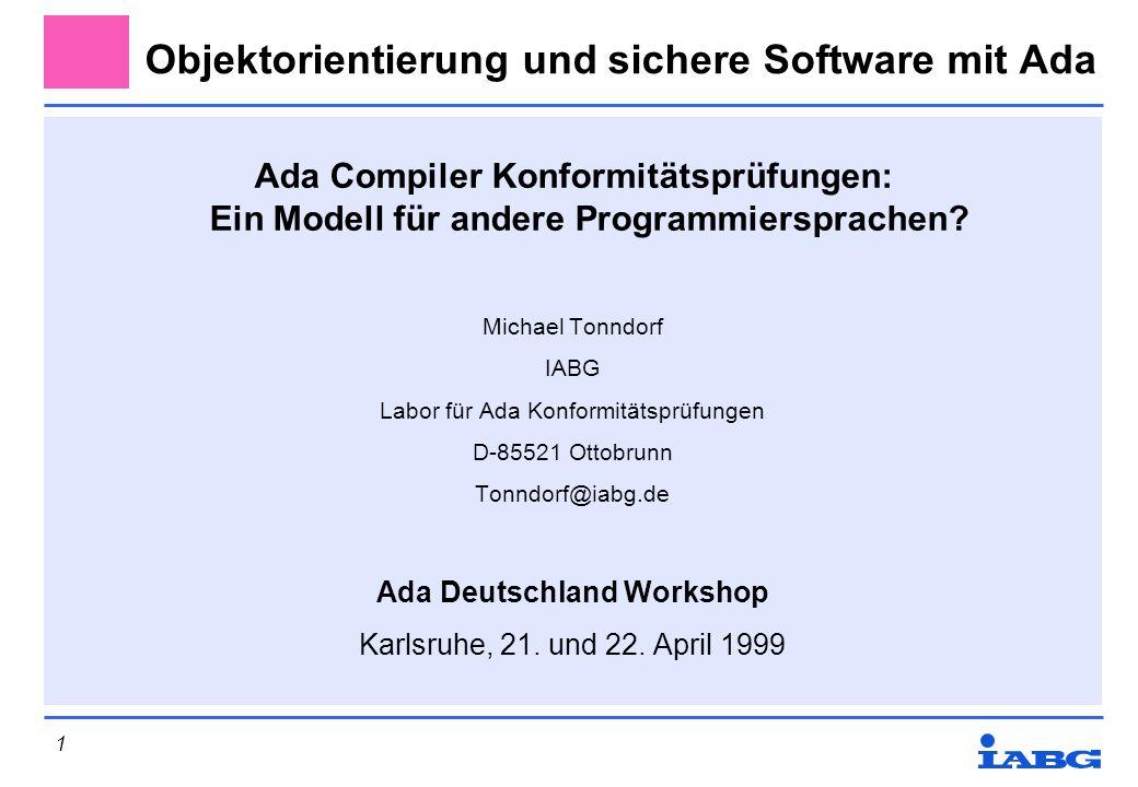 Objektorientierung und sichere Software mit Ada
