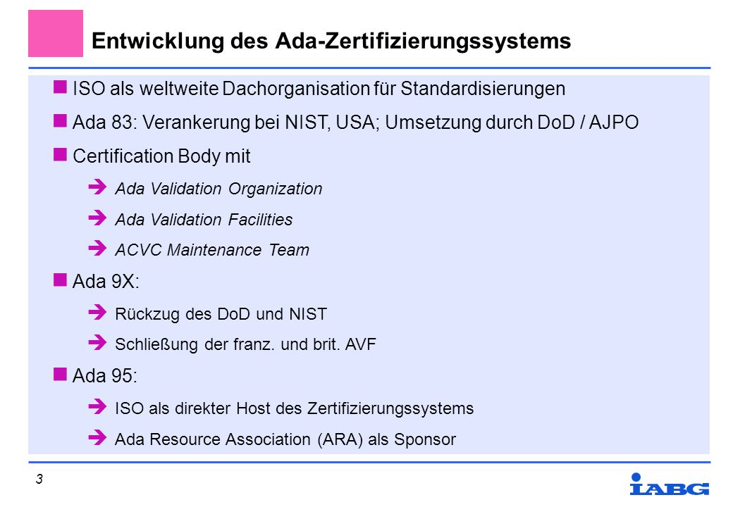 Entwicklung des Ada-Zertifizierungssystems