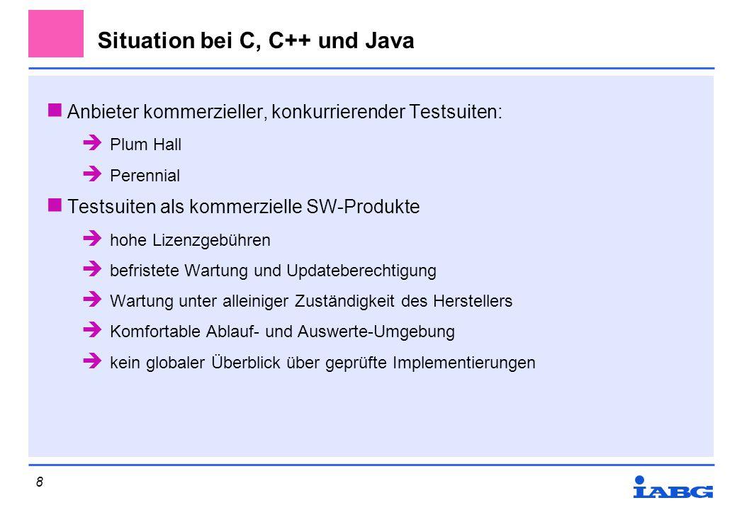 Situation bei C, C++ und Java