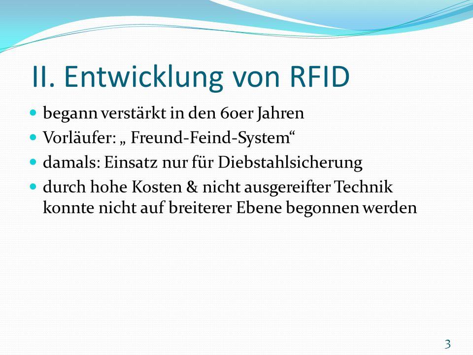 II. Entwicklung von RFID