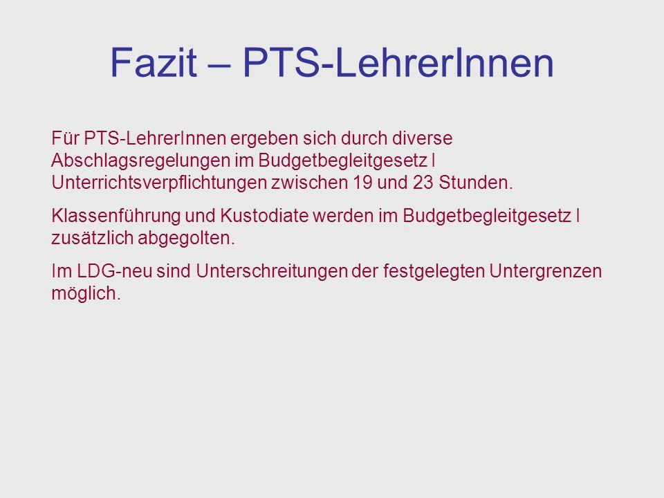 Fazit – PTS-LehrerInnen