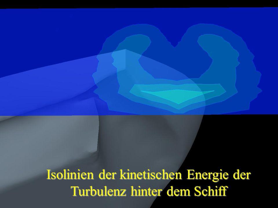 Isolinien der kinetischen Energie der Turbulenz hinter dem Schiff