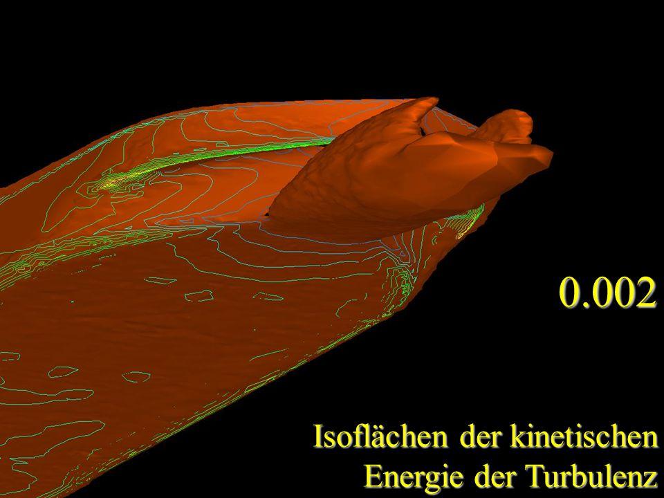 0.002 Isoflächen der kinetischen Energie der Turbulenz