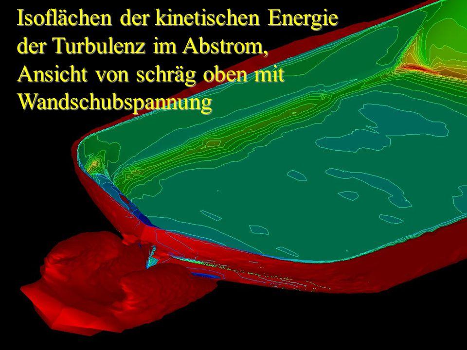 Isoflächen der kinetischen Energie der Turbulenz im Abstrom, Ansicht von schräg oben mit Wandschubspannung