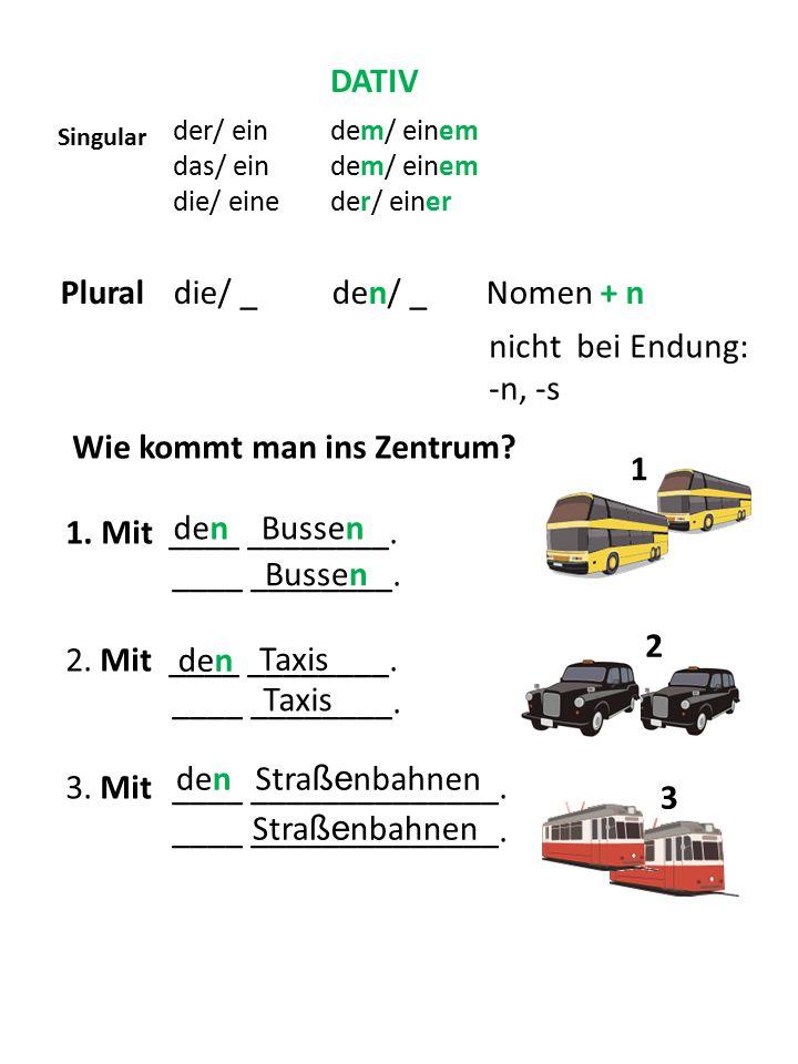 Plural die/ _ den/ _ Nomen + n