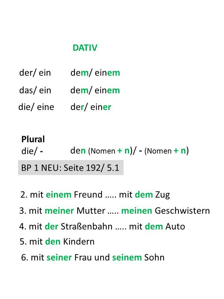 DATIV der/ ein. dem/ einem. das/ ein. dem/ einem. die/ eine. der/ einer. Plural die/ - den (Nomen + n)/ - (Nomen + n)