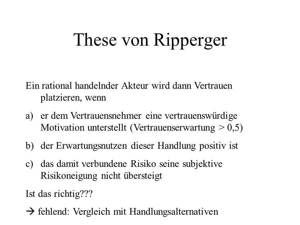 These von Ripperger Ein rational handelnder Akteur wird dann Vertrauen platzieren, wenn.