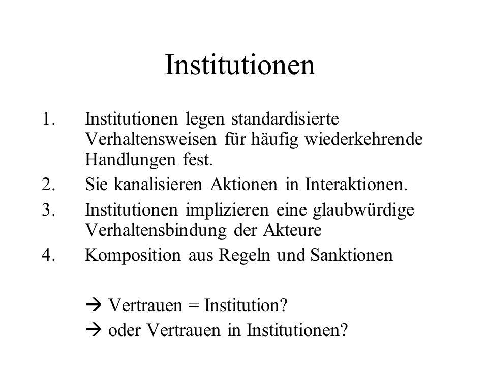 Institutionen Institutionen legen standardisierte Verhaltensweisen für häufig wiederkehrende Handlungen fest.