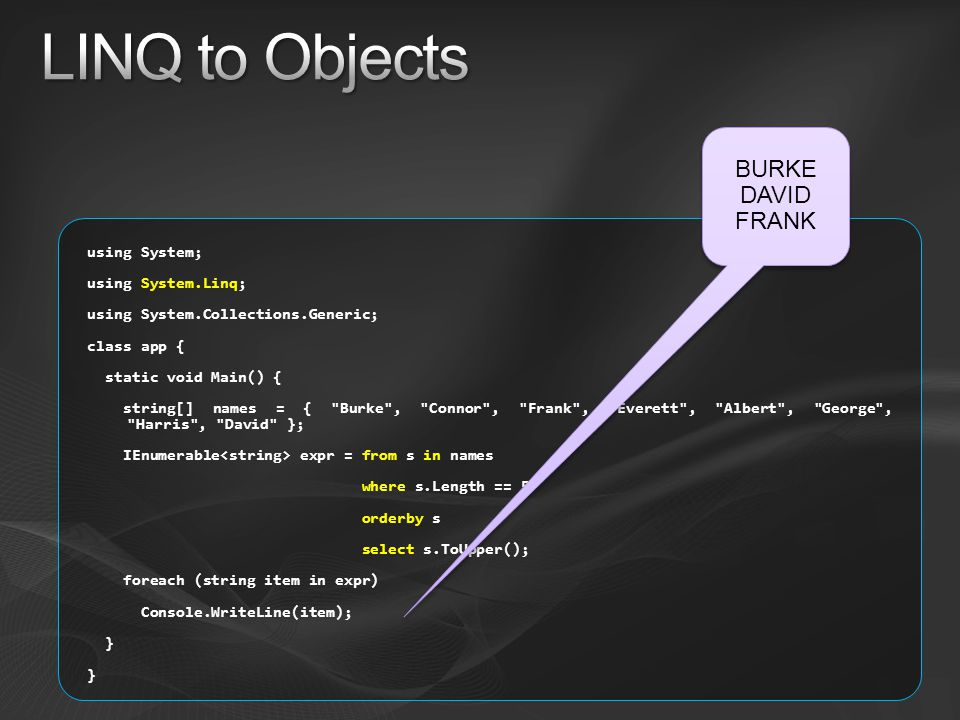 LINQ to Objects BURKE DAVID FRANK using System; using System.Linq;